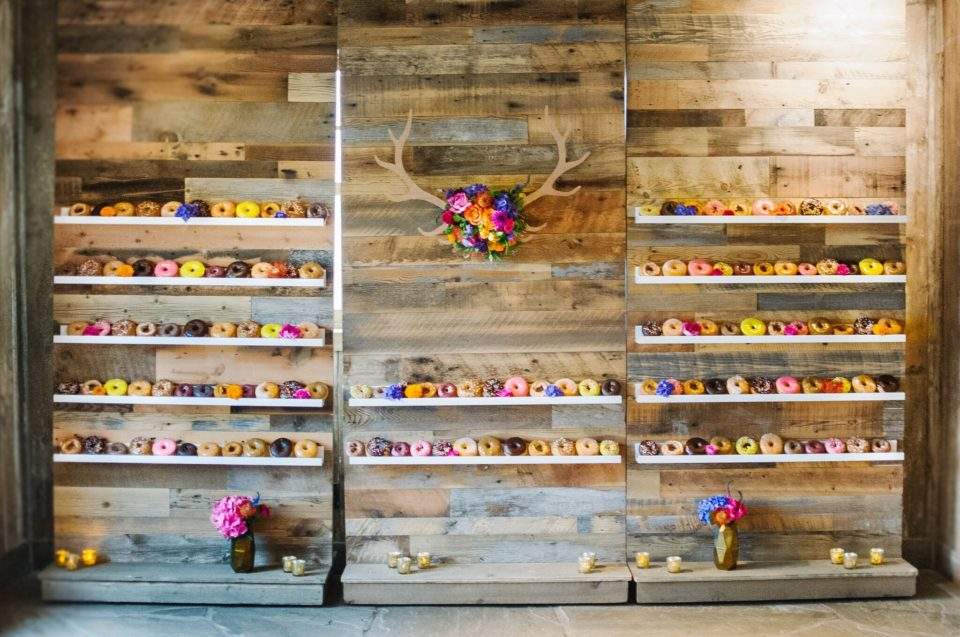 colorful neon donut wall floral