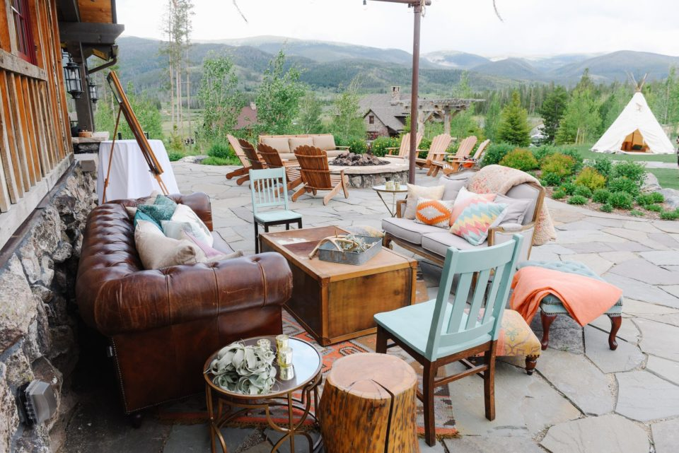 colorful rustic lounge outdoors