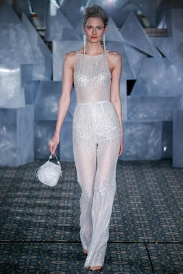 wedding gown jumpsuit runway