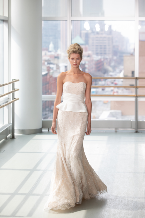Peplum bridal gown city background
