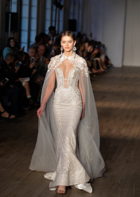 bridal cape wedding gown runway