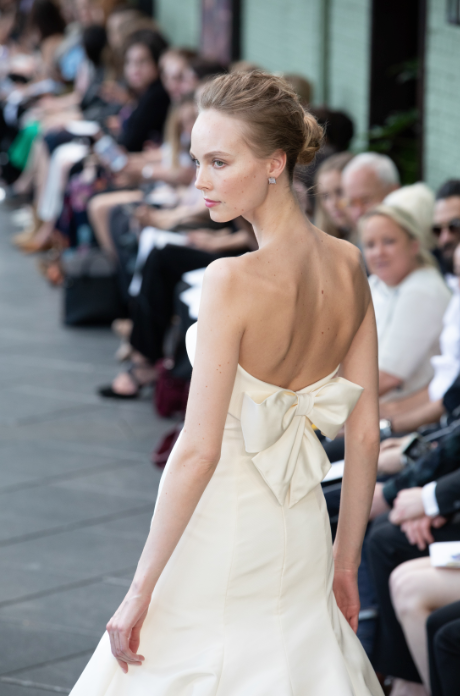 wedding gown bow back runway