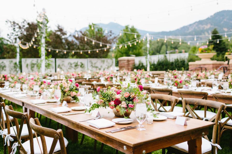 Farm Table String Lights Summer Wedding