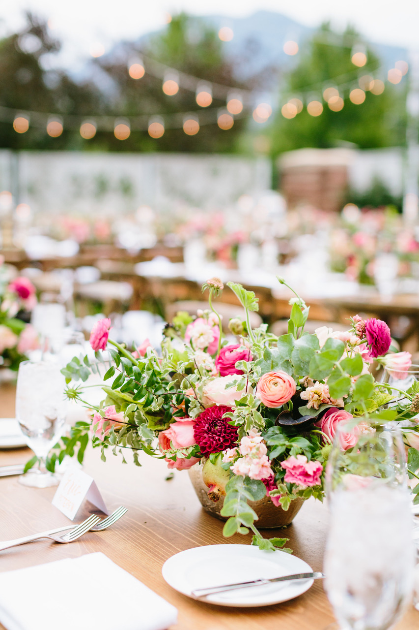 Outdoor Wedding Farm Table Floral String Lights