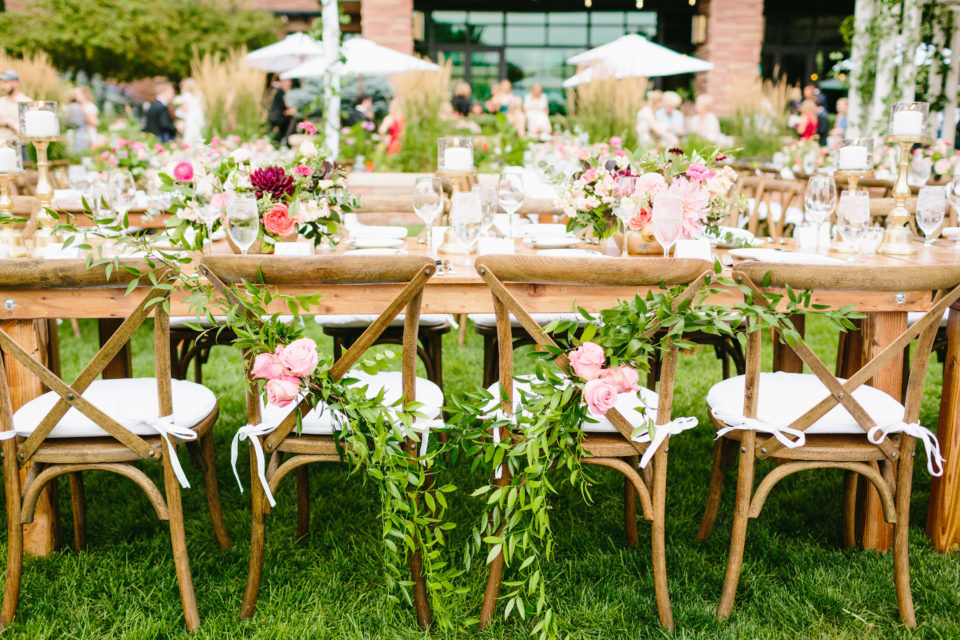 Farm Table Crossback Chairs Outdoor Reception