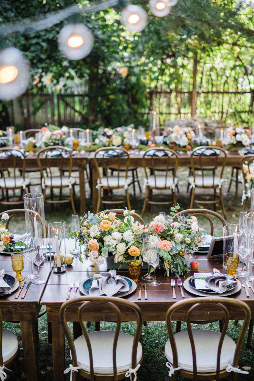 String Lights Farm Table Summer Wedding