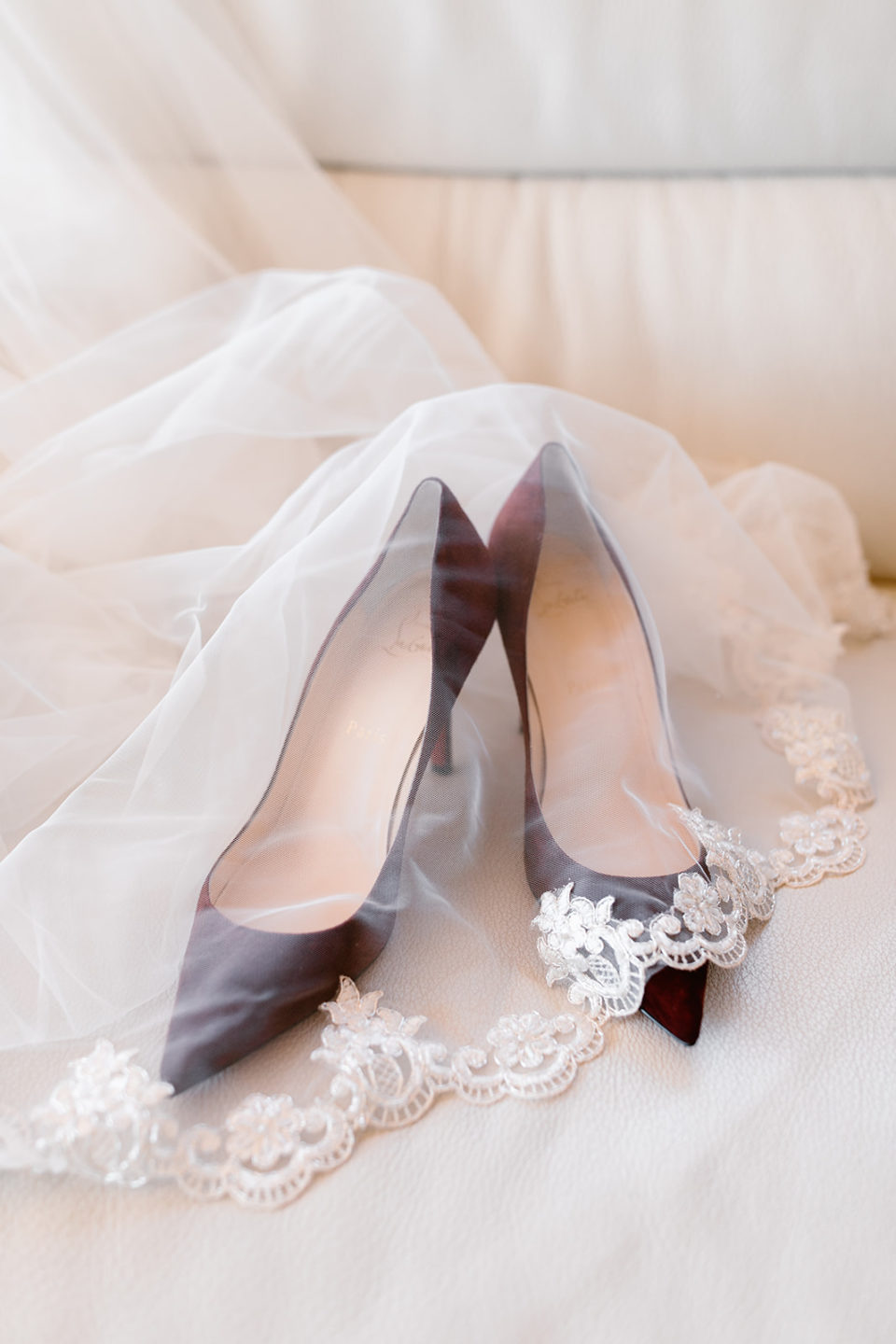Red Wedding Shoes Veil