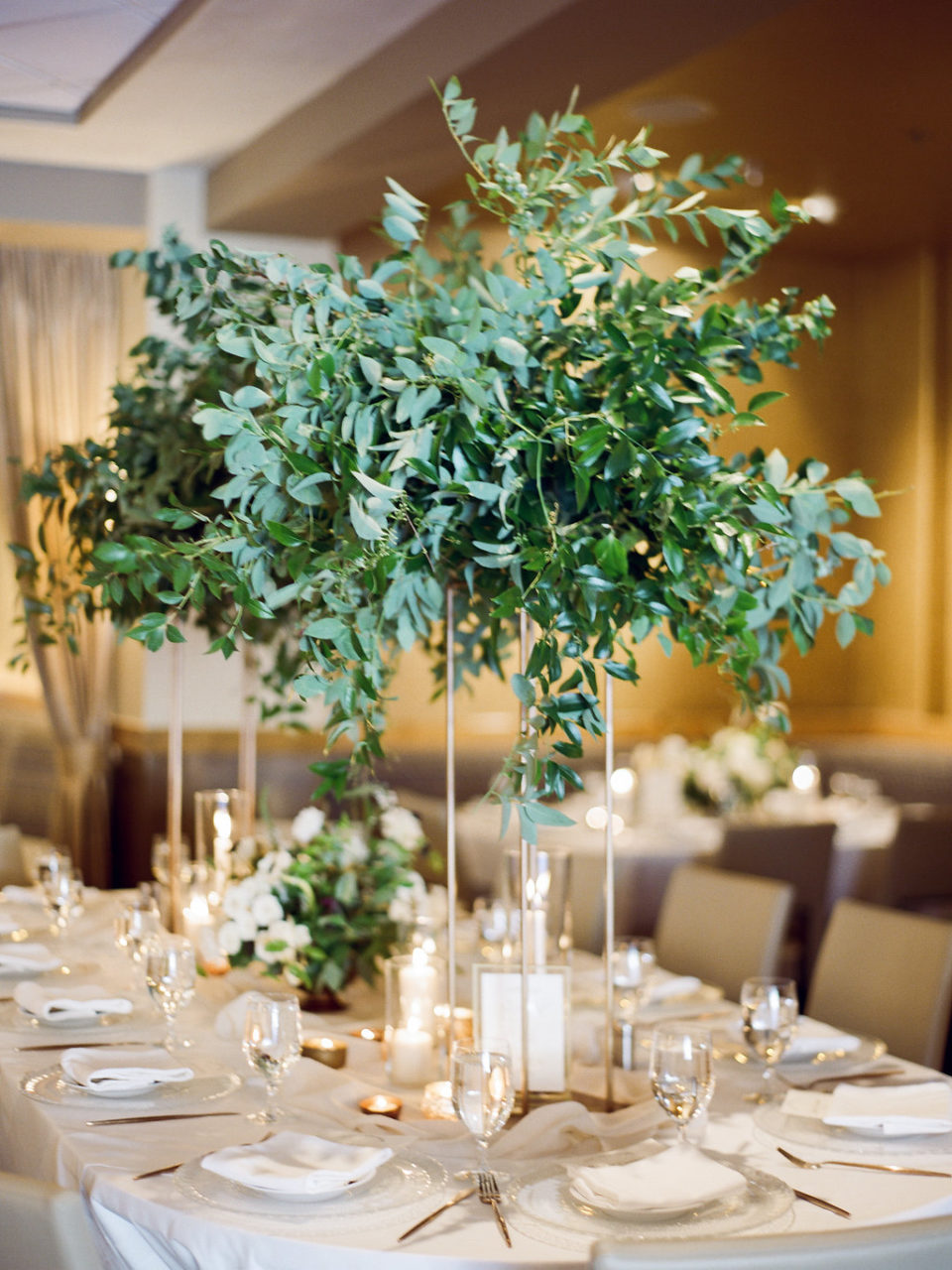 The 10th wedding reception greenery gold vase
