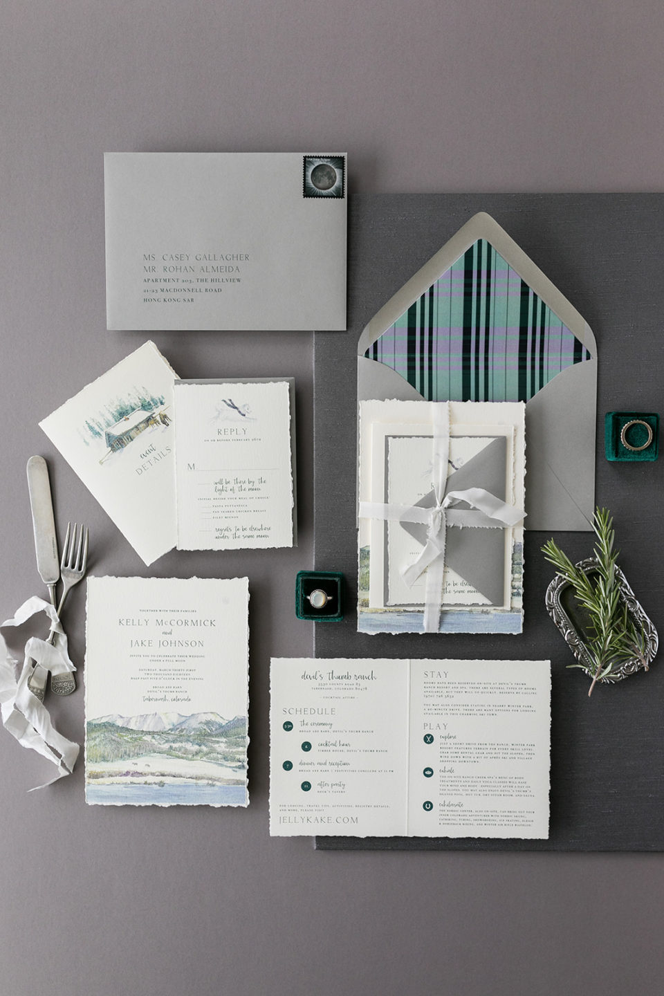 Sweet Zion Paperie invitation suite with ribbon Colorado wedding