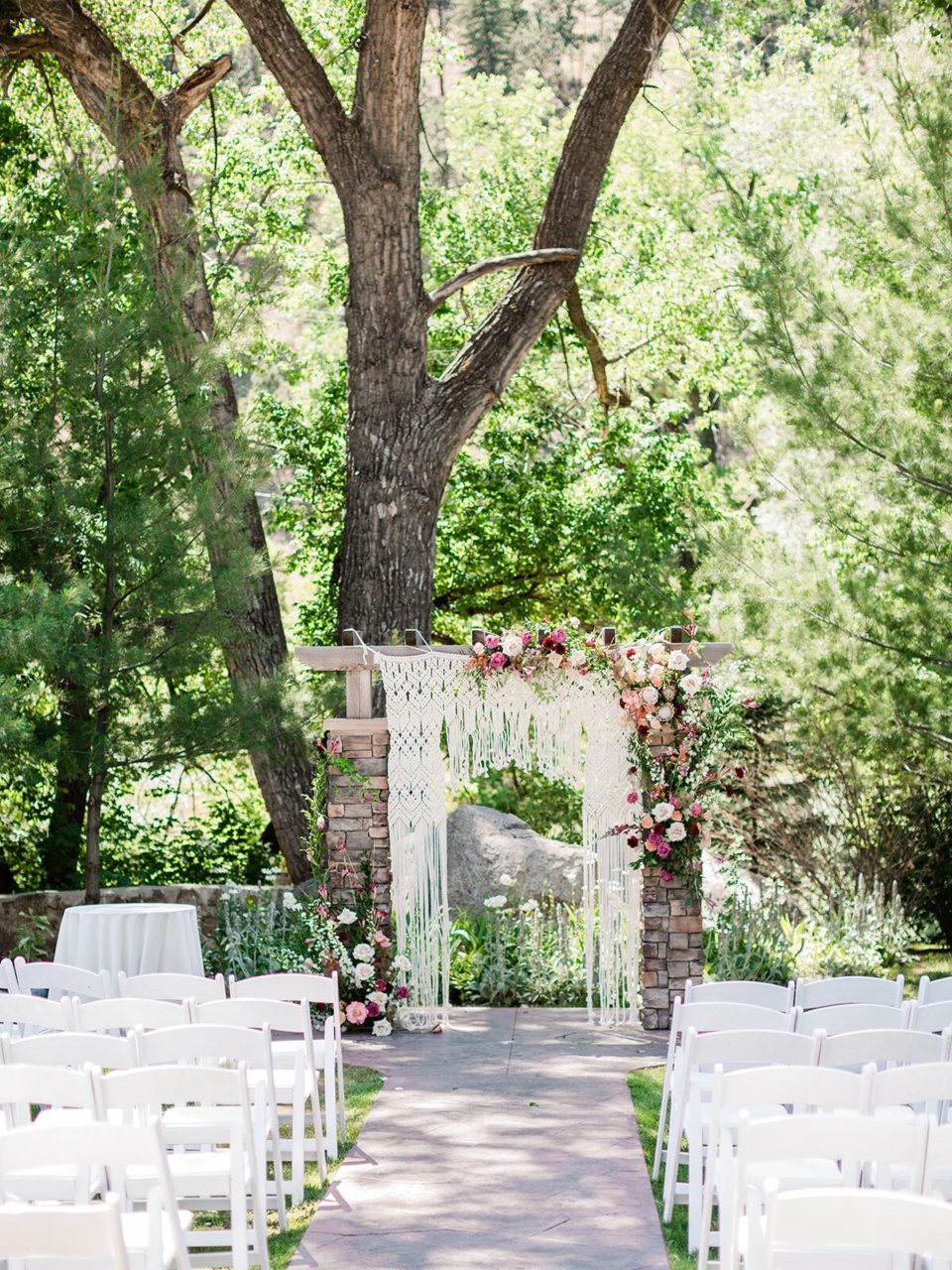 Boho ceremony backdrop altar wedding Colorado