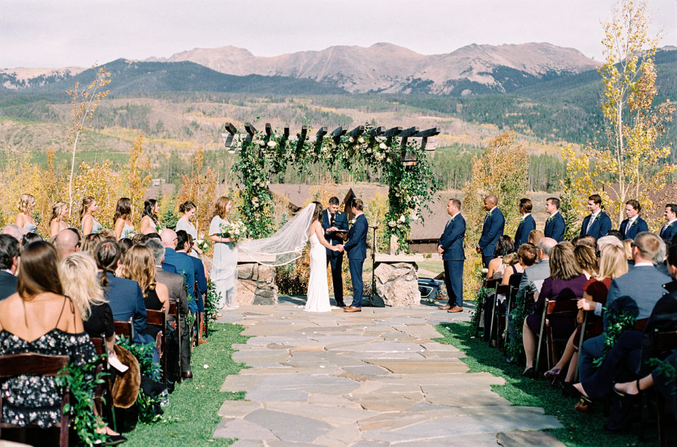 Fall outdoor ceremony Devil's Thumb Ranch