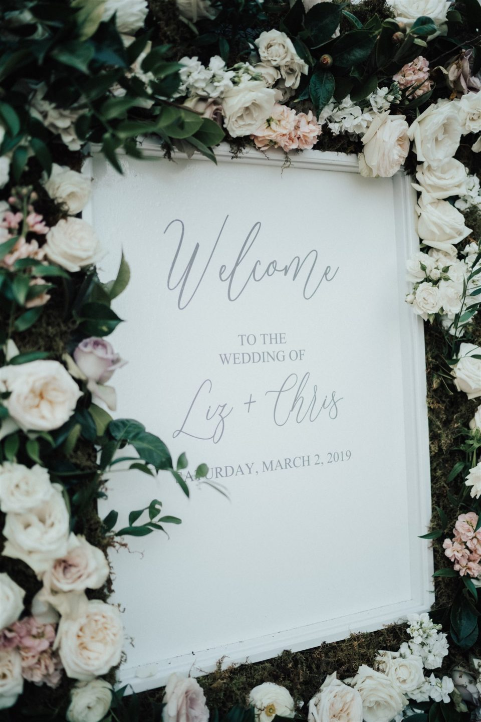 Lush Rose Bordered Welcome Wedding Sign