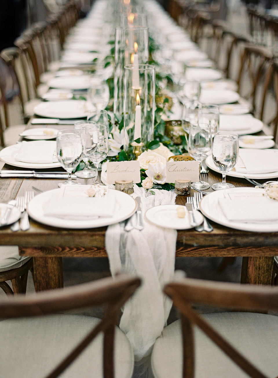 farm tables classic romantic reception decor