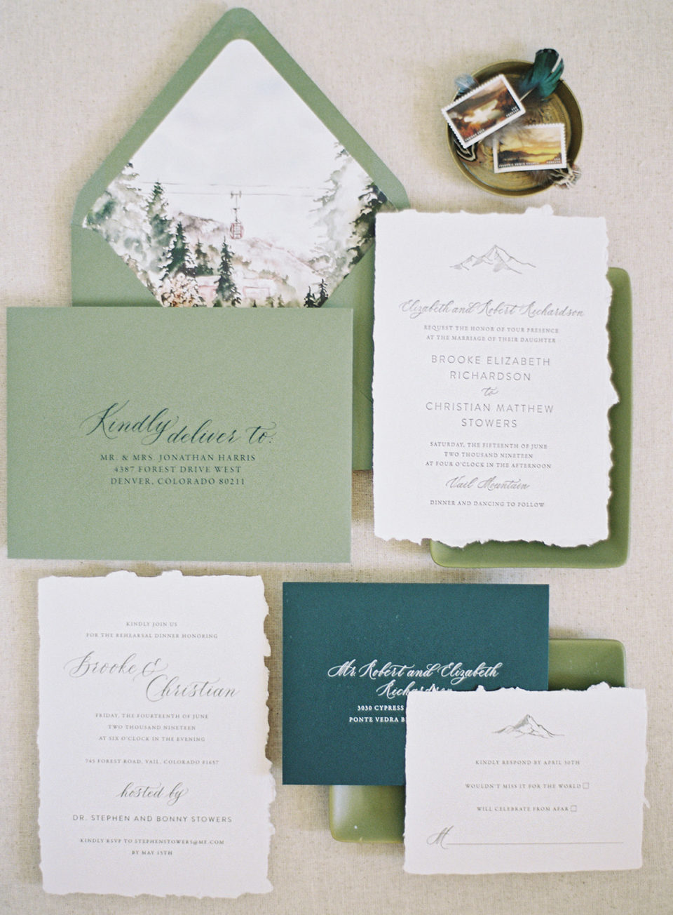 watercolor mountain invitation suite wedding