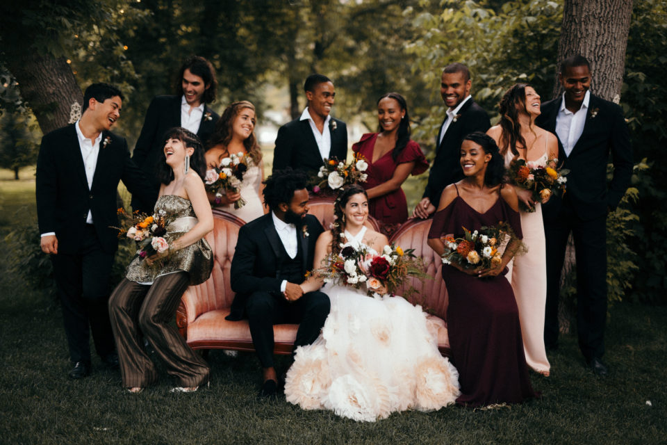 river bend bridal party portrait