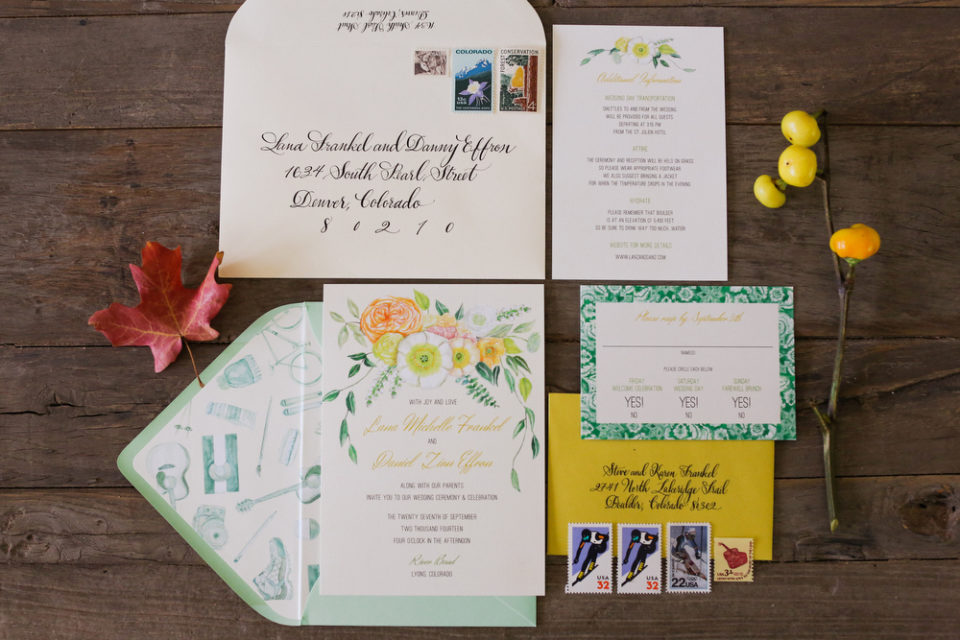 Laura Murray Watercolor Invitation Suite Flat Lay