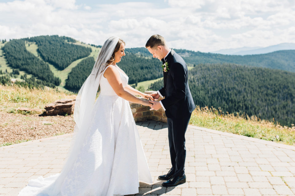 first look bride groom reaction vail mountain wedding