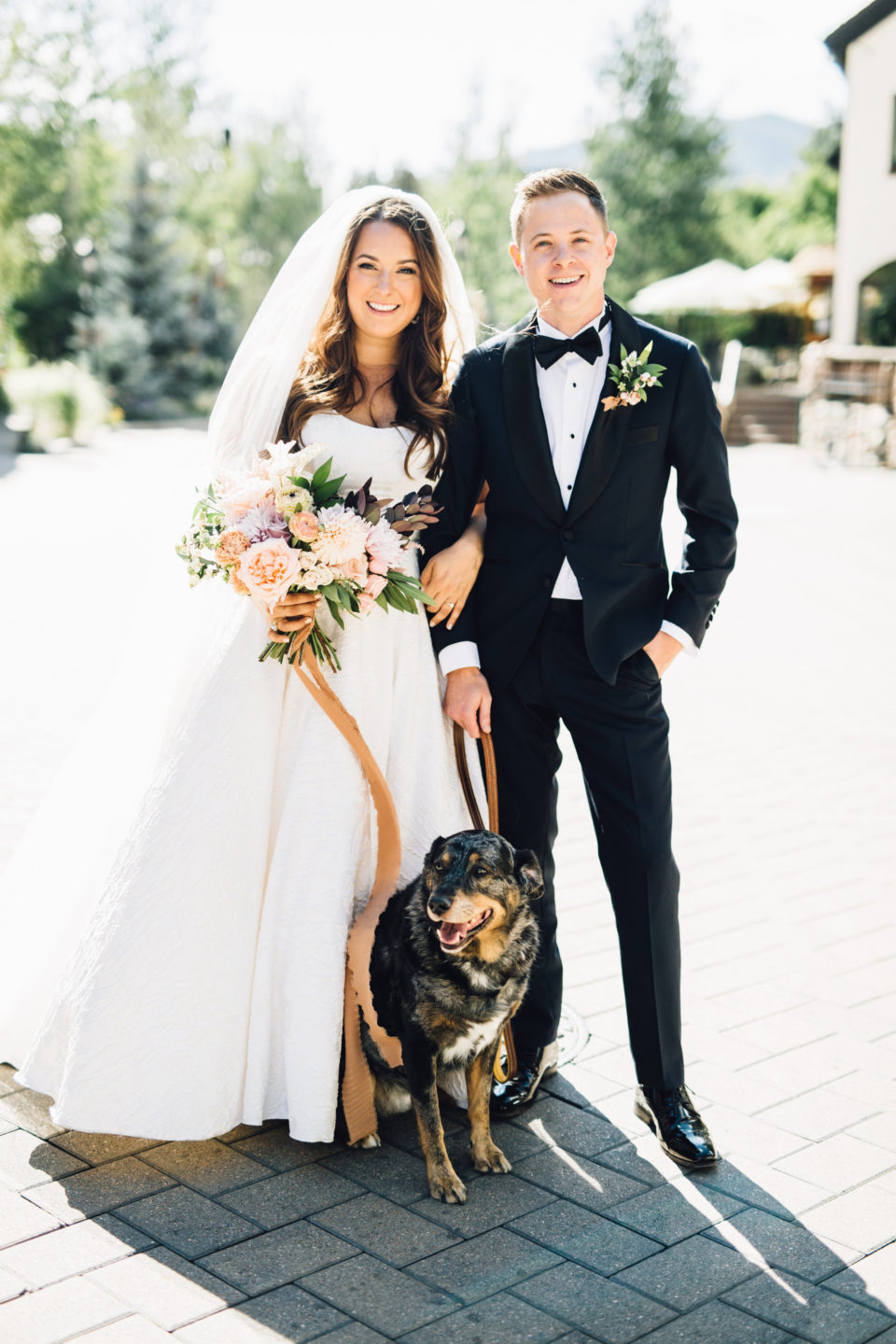 bride groom mountain dog colorado summer wedding