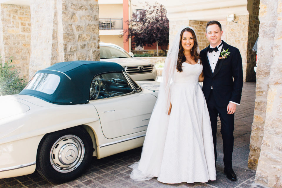 bride groom getaway car vail summer wedding