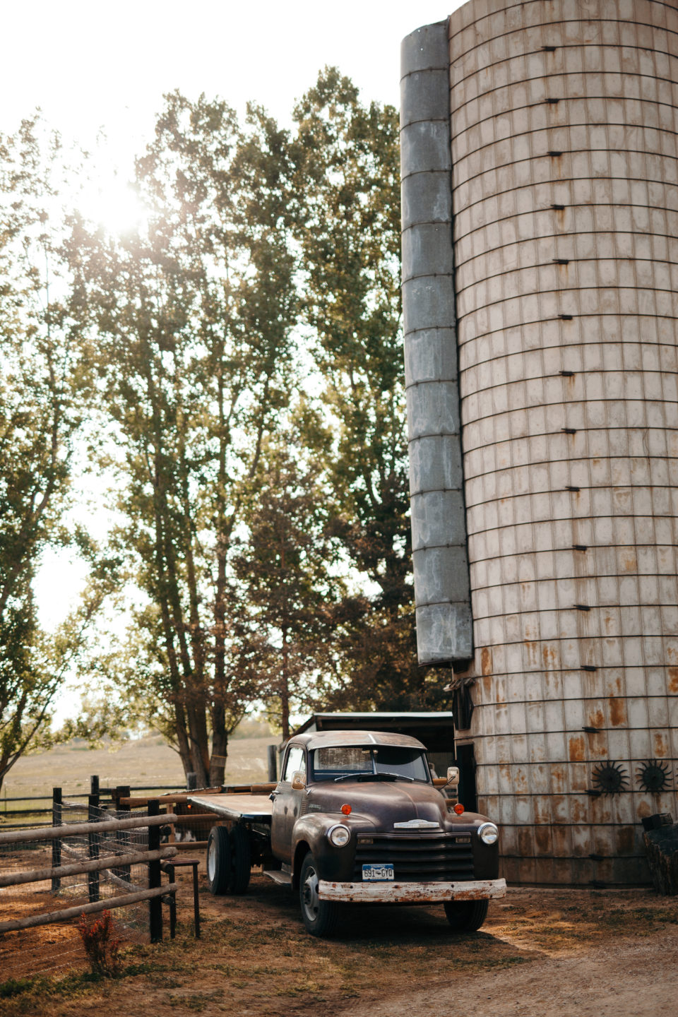 silos vintage truck colorado summer farm wedding