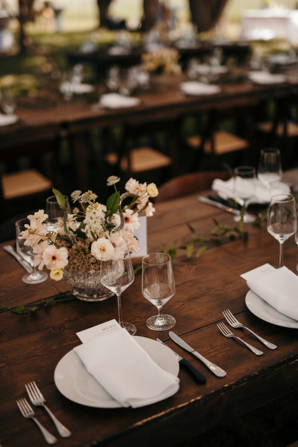 loose soft florals table reception colorado summer wedding