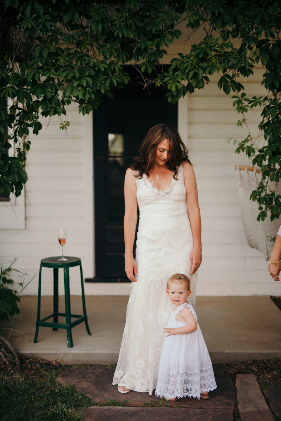 bride flowergirl farm summer colorado wedding