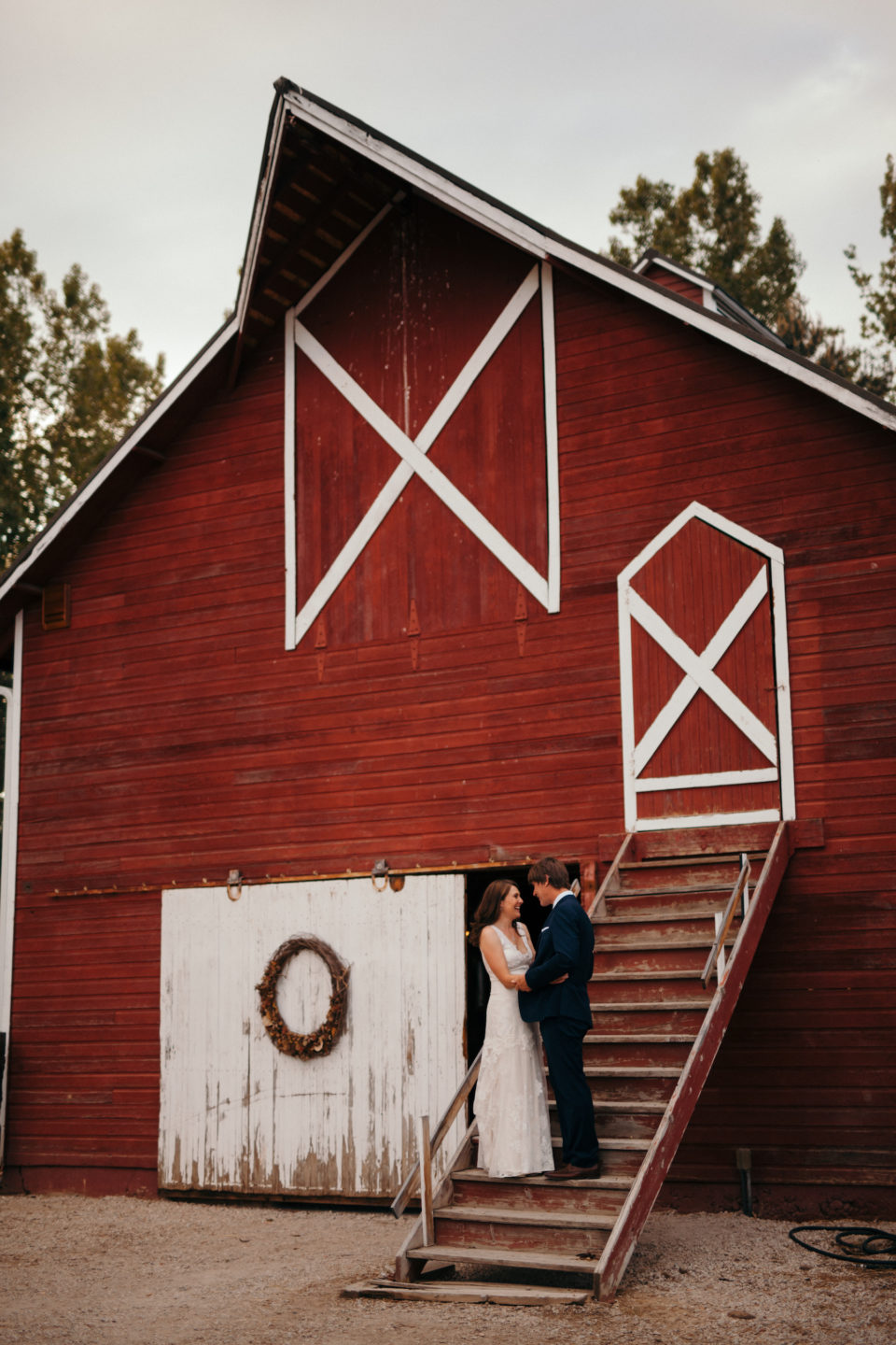 rustic farmhouse barn wedding portrait bride groom