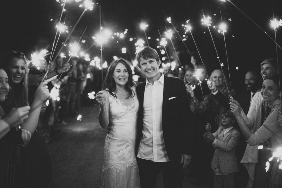sparklers send off colorado summer night wedding bride groom