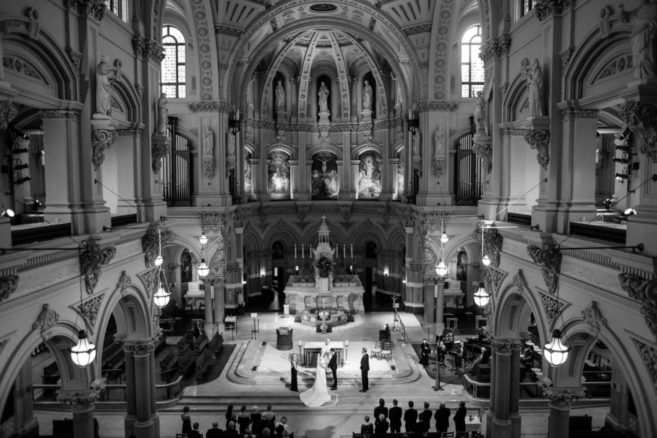 black and white st xavier francis church wedding