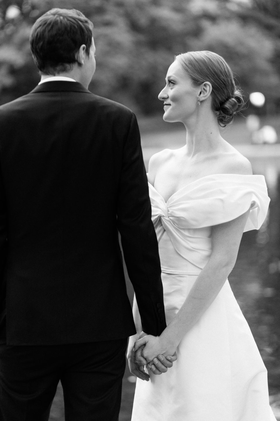 black and white portraits of bride and groom central park