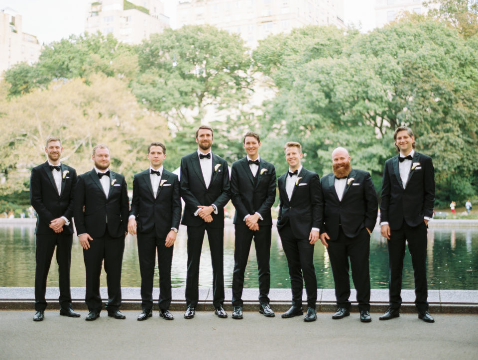 groom with his groomsmen in central park