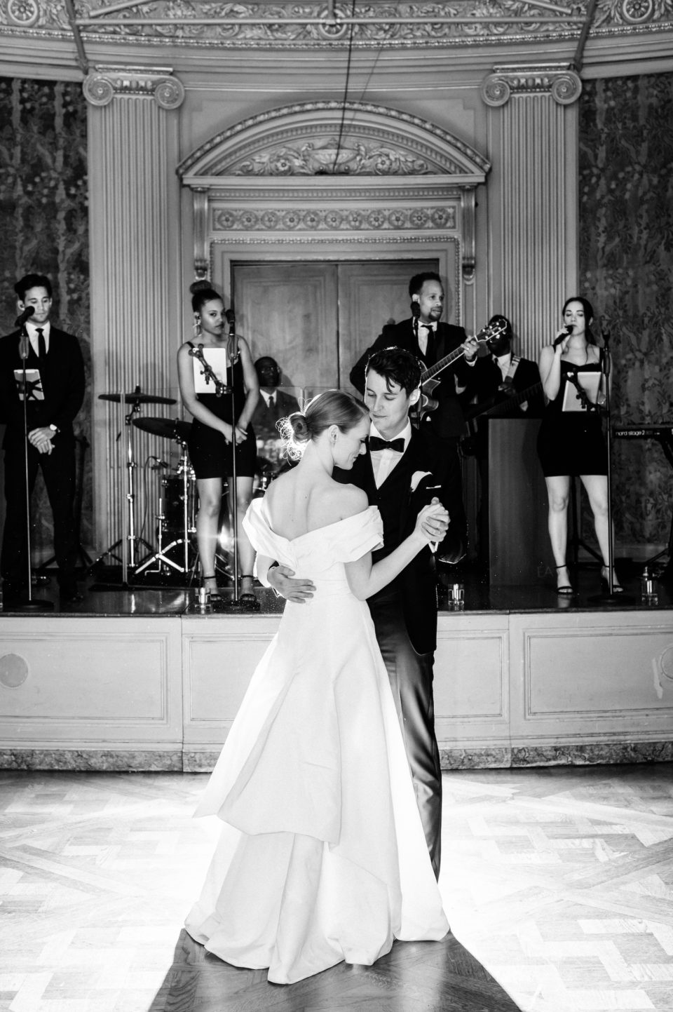 wedding at the frick collection first dance black and white photo