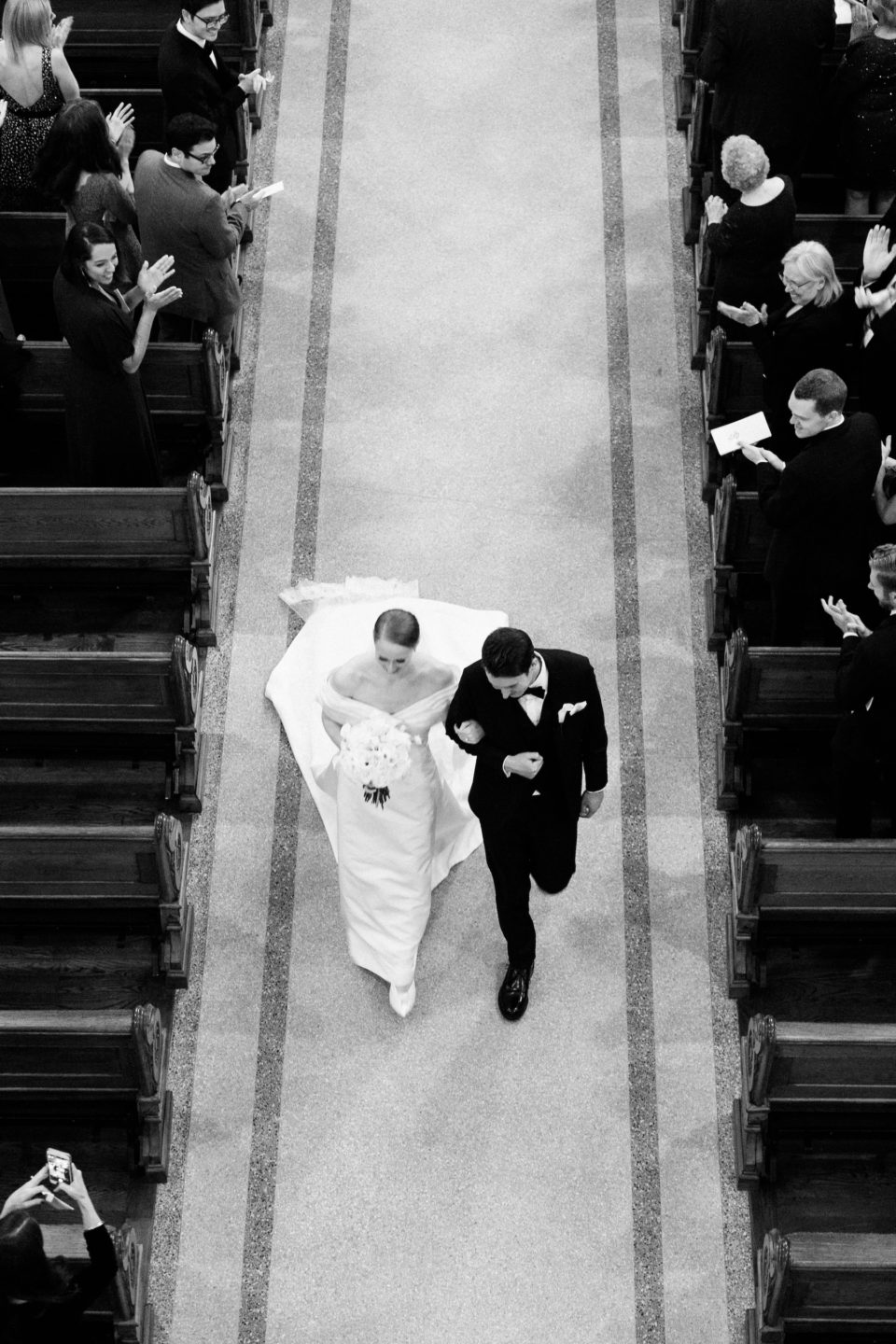 bride groom walking down aisle st xavier francis church nyc