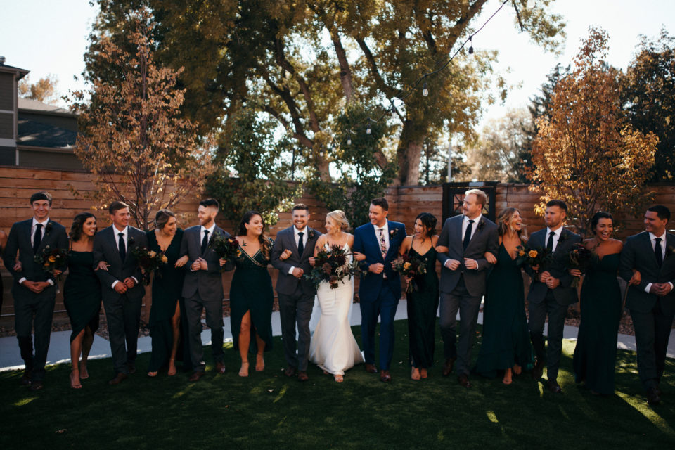 fall wedding bridal party st vrain