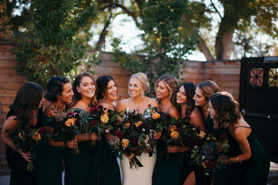 bride and bridesmaids fall toned wedding green velvet dresses