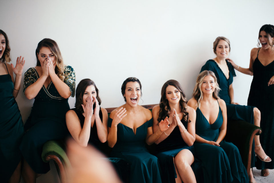 bridesmaids reactions jewel tone green dresses