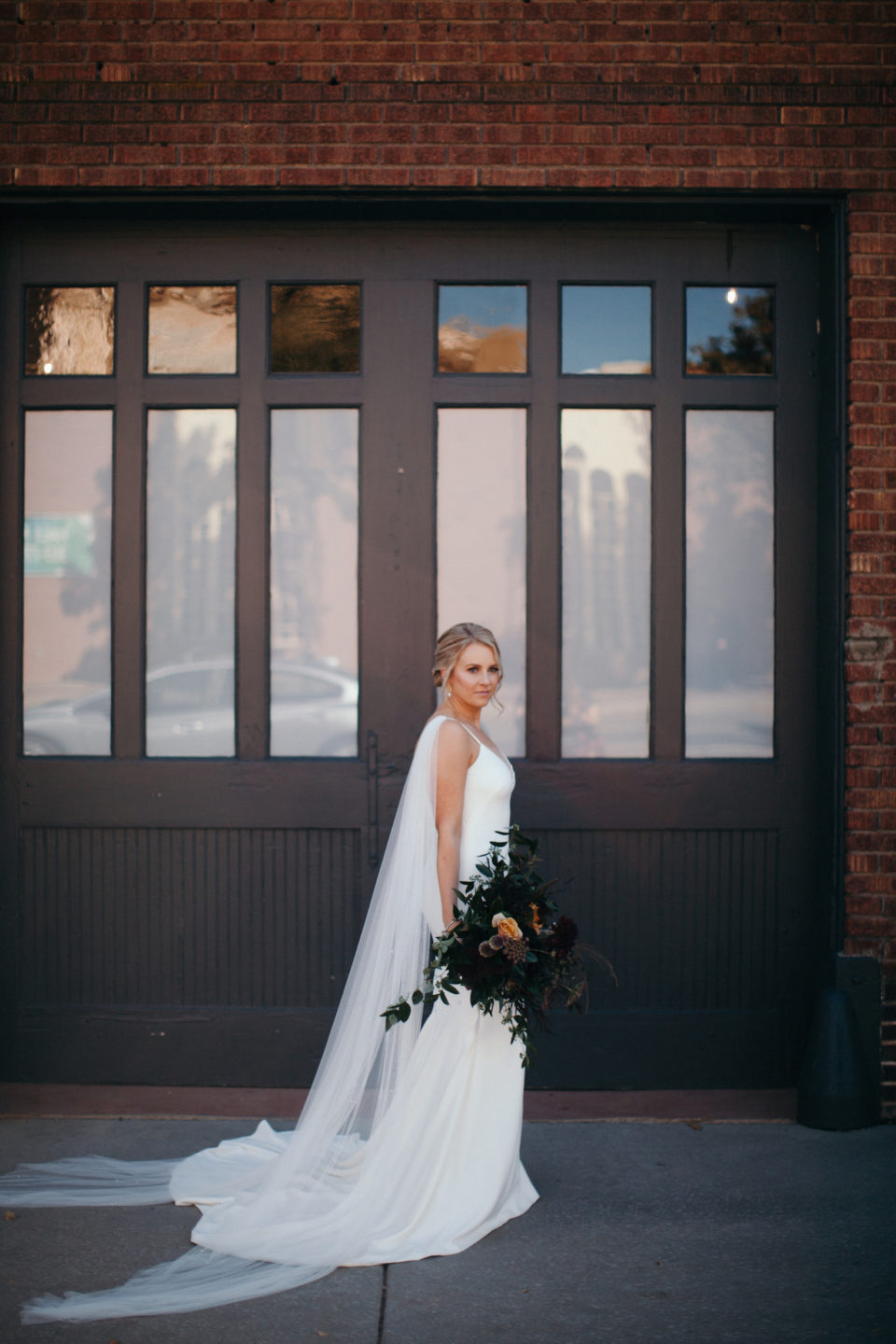 bride groom portraits first look industrial