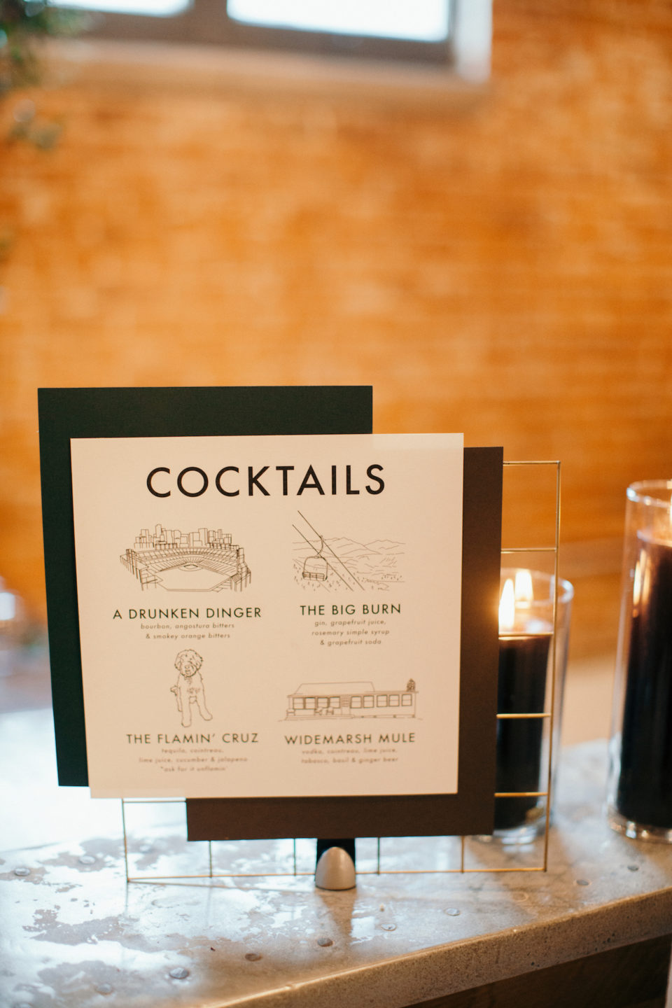 hand illustrated cocktail signs wedding