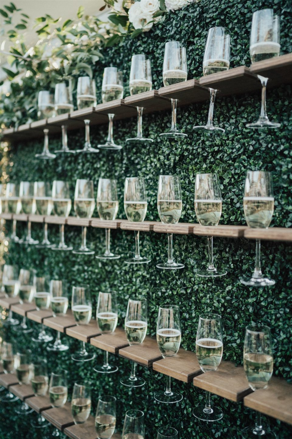 champagne wall cocktail hour colorado wedding