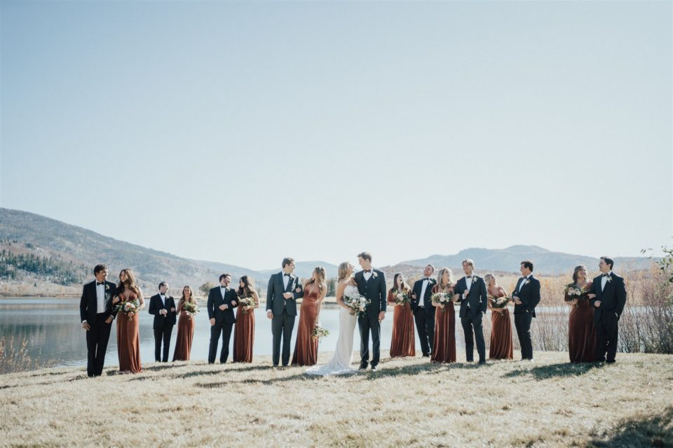 colorado bridal party mountain wedding lake views