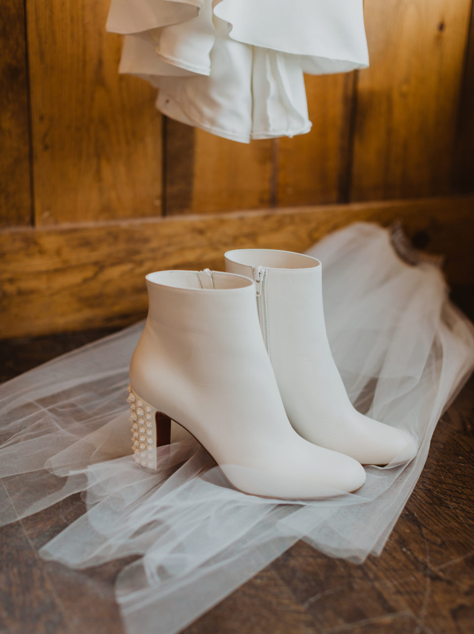 pearl studded booties bridal shoes